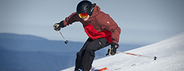 Skier racing downhill