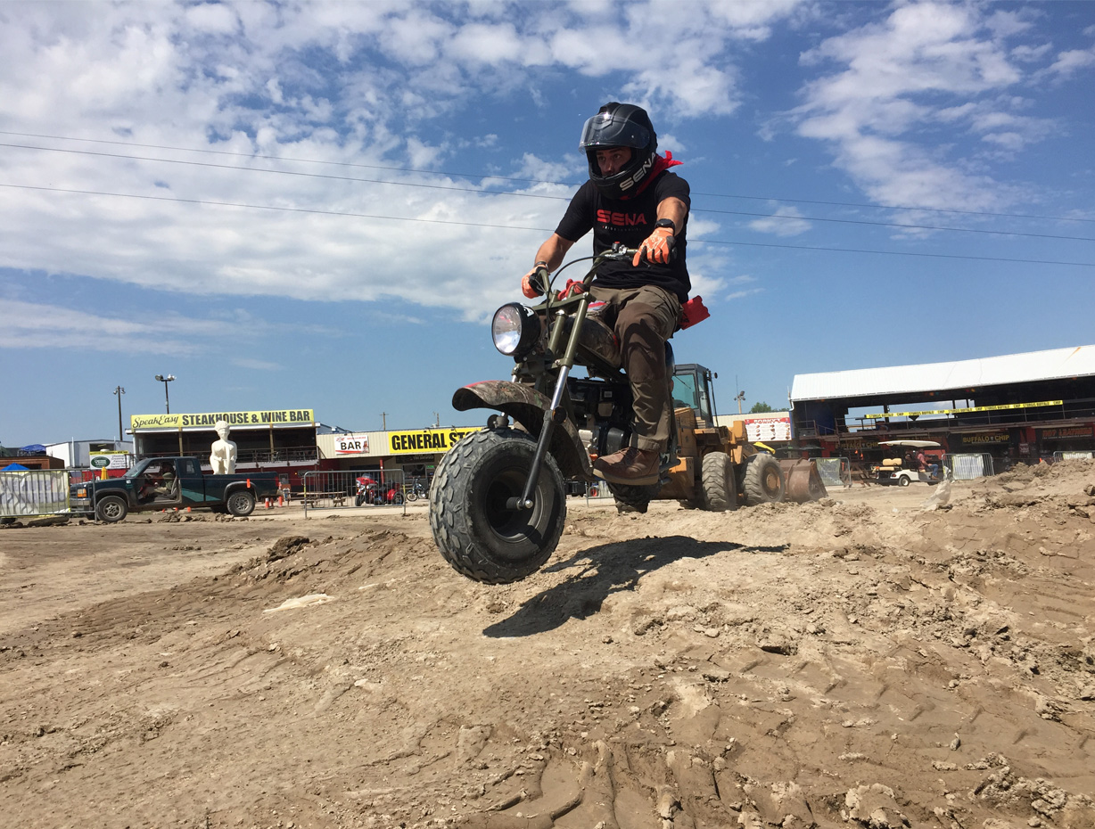 Mini-bike action on the dirt