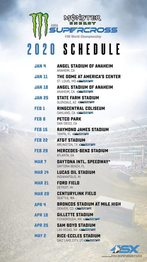 2020 Monster Energy AMA Supercross Schedule