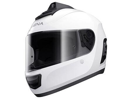 Momentum Pro White Helmet Bluetooth Communication with Camera